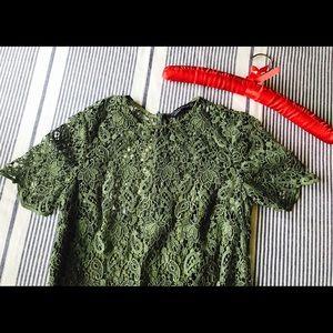 Zara woven green dress with slip NWOT